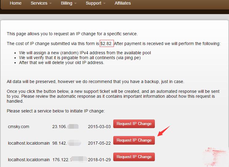 搬瓦工VPS自助更换新IP方法